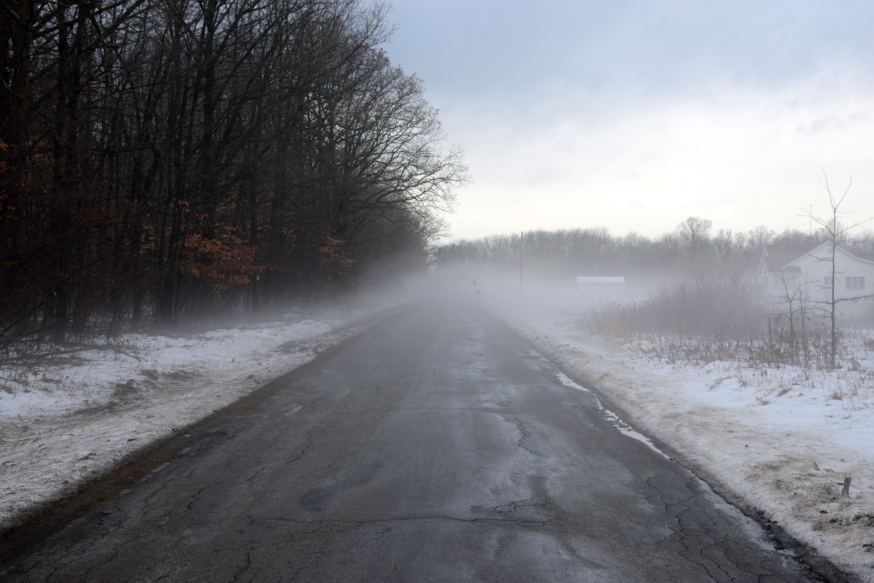 Really foggy areas during a bike ride when the temperature got up to about 56F