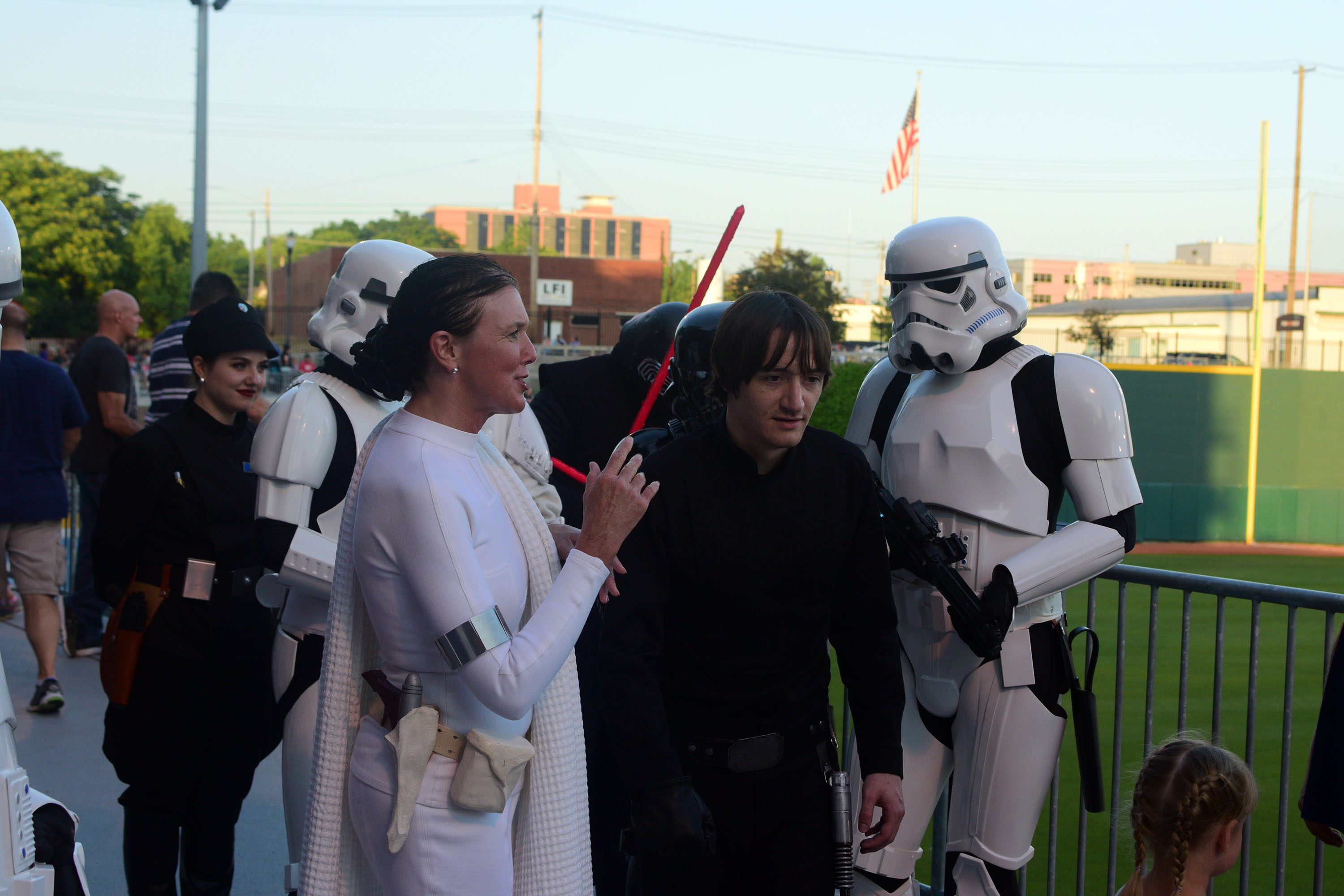 During a Star Wars themed baseball game at Cooley Law School Stadium