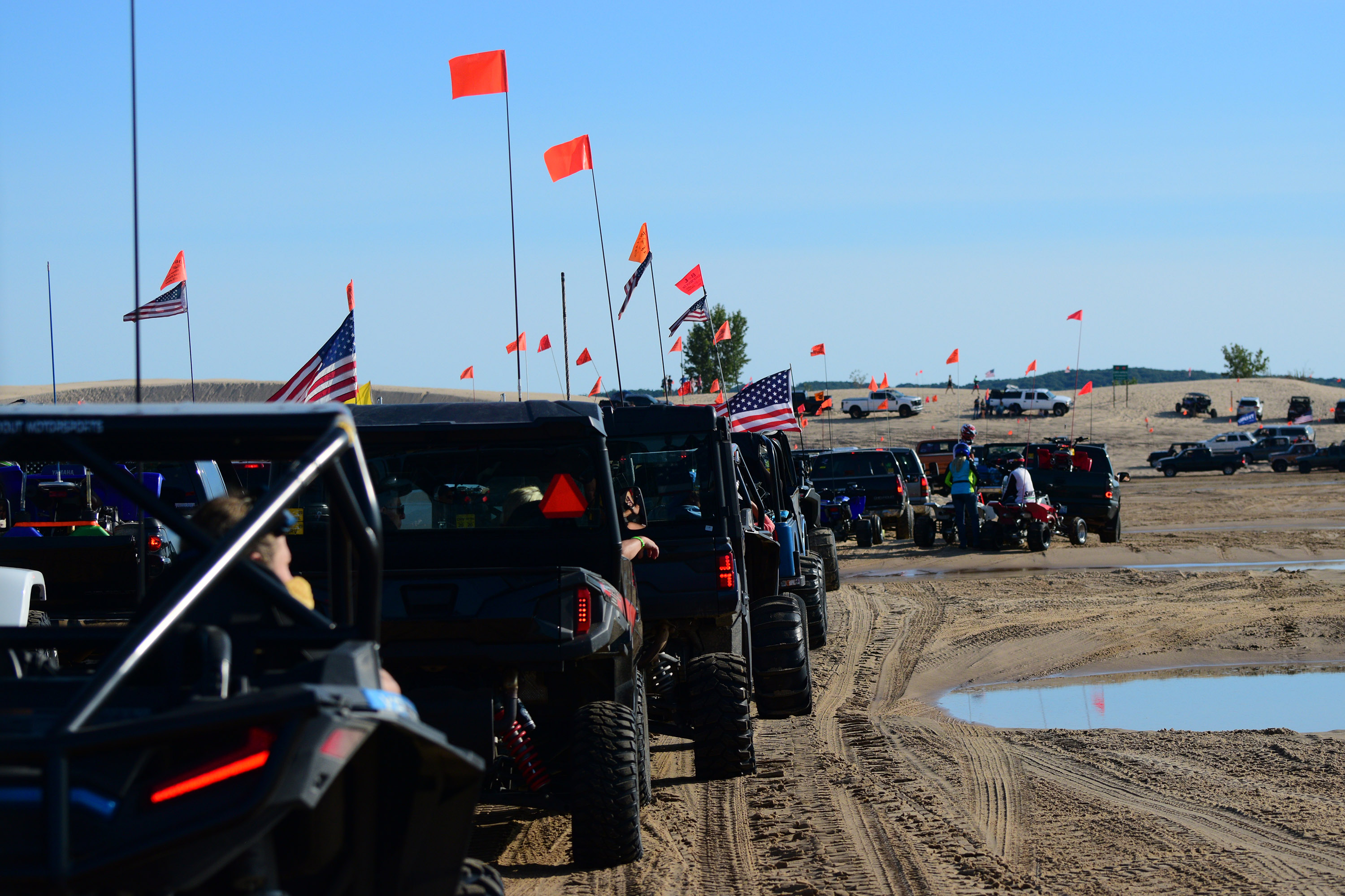 Waiting in line to exit the Silver Lake Sand Dunes on Labor Day weekend - the line was an hour and a half long