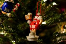 M&Ms ornaments in a (fake) tree