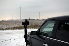 Cody's camera set up taking a time lapse of wind turbines in Gratiot County