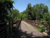 View across the bridge at the beginning of the rail trail