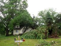 Damage from an EF1 tornado that touched down in Brant on July 11, 2014.