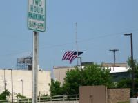 The 50x80 foot American flag flying over the Court Street bridge in Saginaw