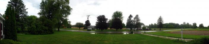 Panorama of our front yard after a particularly rainy storm (which spawned a tornado two miles away)