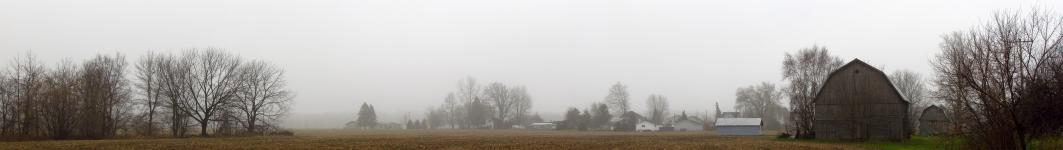 Panorama of Brant as seen from our backyard on a cold, foggy morning