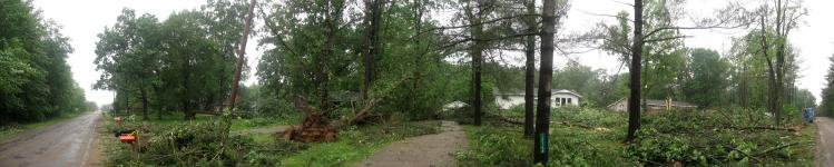 Panorama shot of damage from the tornado that touched down in Brant