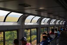 Observation car entering the Rocky Mountains