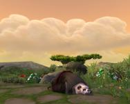 Cute male pandaren sleeping animation