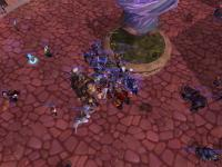 Everyone crowding the Orphan Matron in Dalaran after 3.2 was released.